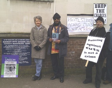 Anti-cuts protest outside Highgate Magistrates' Court