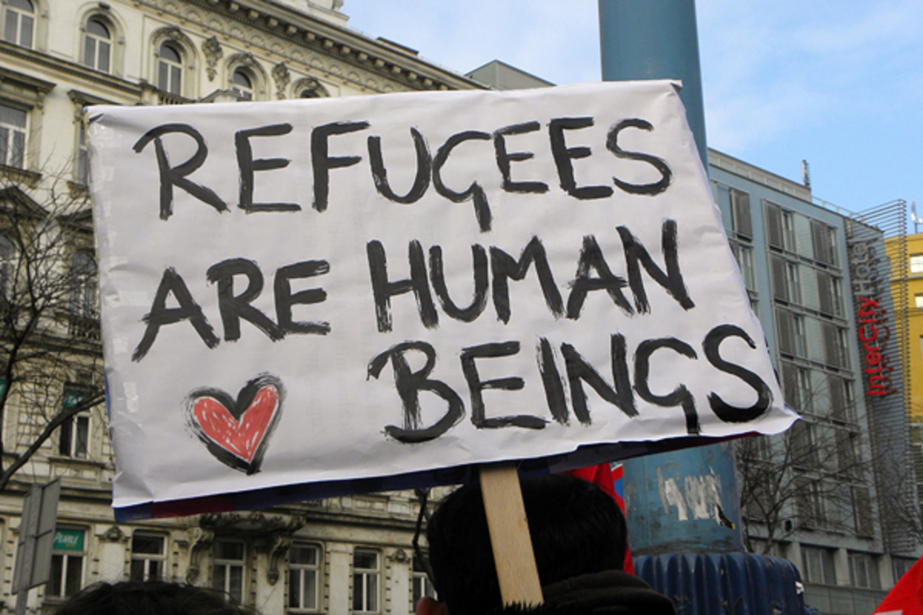 Image: refugees are human beings
