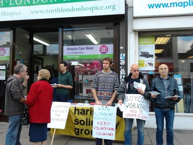 Anti-workfare protest at North London Hospice